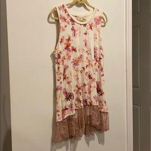 LOGO long shirt pink flowers sleeveless w pockets